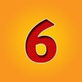Único caráter 6 seis fontes no alfabeto alaranjado e amarelo da cor Fotografia de Stock Royalty Free