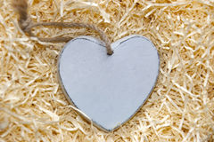 Único coração de madeira cinzento vazio do amor Imagem de Stock