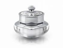 Único frasco cosmético de luxe de prata no branco Fotografia de Stock Royalty Free