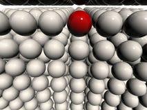 Único globo 3d no campo de esferas 3d branco Imagens de Stock