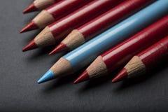 Único lápis de Bllue em seguido de lápis da cor Foto de Stock Royalty Free