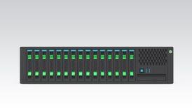 Único módulo de servidor da lâmina isolado no fundo cinzento Imagens de Stock