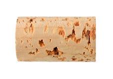 Único, não utilizado, novo, cortiça natural do vinho do marrom isolada no branco Foto de Stock Royalty Free