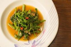 Único serviço de vegetais chineses em uma placa branca Imagem de Stock Royalty Free