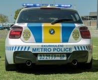 Único sul - a polícia africana EMPD automobilístico suporta luzes da vista sobre Fotografia de Stock Royalty Free