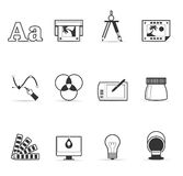 Únicos ícones da cor - impressão & projeto gráfico Fotografia de Stock Royalty Free