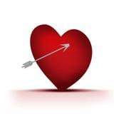 Únicos corações com seta ilustração do vetor