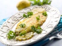 Únicos pescados empanados Imagen de archivo libre de regalías