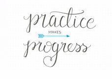` Üben macht Fortschritt ` die ehrliche Handbeschriftung, die im Schwarzen mit einem Pfeil sagt stock abbildung