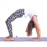Übende Yogaübungen:  Brückenhaltung - Urdhva Dhanurasana Lizenzfreies Stockfoto