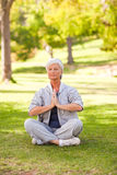 Übendes Yoga der älteren Frau im Park Lizenzfreie Stockbilder