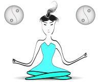 Übendes Yoga der Asiatin im tadellosen farbigen Sport kleidet an stock abbildung