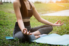 Übendes Yoga der jungen Eignungsfrau auf dem Feld, gesundes lifest Stockbilder