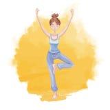 Übendes Yoga der jungen Frau auf einem Hintergrund des Sonnenaufgangs oder des Sonnenuntergangs Mädchen, das auf einem Bein in de vektor abbildung