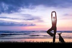 Übendes Yoga der jungen Frau am Sonnenuntergang Stockfoto