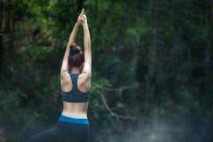 Übendes Yoga der jungen Frau YOGA Rückseite und Entspannung in den Vorderteilen Lizenzfreie Stockfotografie
