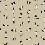 Übendes Yoga der Leute, nahtloser Hintergrund vektor abbildung