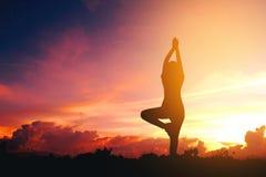 Übendes Yoga der Schattenbildfrau Lizenzfreie Stockbilder