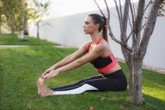 Übendes Yoga des attraktiven Mädchens draußen stockfotografie