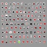 Über 100 themenorientierten Aufklebern des stilvollen Valentinsgrußes Lizenzfreies Stockbild