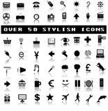 Über 50 stilvollen Ikonen mit Schatten-Reflexionen Lizenzfreie Stockfotos