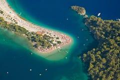 Über blauer Lagune Stockbild