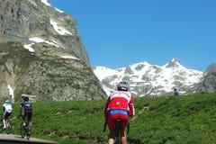 Über das Col. Glandon radfahren, Frankreich stockbild