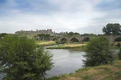 Über dem Fluss in Carcassonne Stockbild