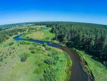 Über dem Fluss von Volchina-Dorf von Ivanovskoe Lizenzfreies Stockbild