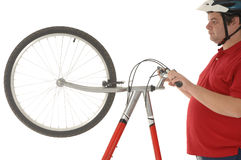 Über dem Gewichtmänner Radfahren Stockbilder