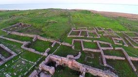 Über der archäologischen Fundstätte stock video