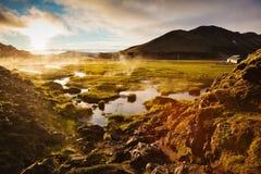 Über der Quelle des Thermalwassers Stockbilder