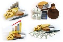 Über Geschäftstorte mit Geldzeichenisolat auf weißem Hintergrund Stockfotos