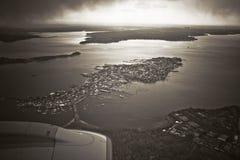 Über New York - Flügelschuß Stockfotos