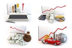 Über rotes Pfeildiagramm des Geschäftsisolats auf weißem Hintergrund Stockbild