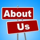 Über uns stellt Zeichen Unternehmenskontakt und Website dar Lizenzfreie Stockfotos