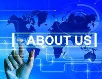 Über uns zeigt Karte Website-Informationen einer internationalen Co an Lizenzfreie Stockfotos