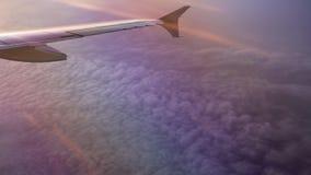 Über violetten Wolken mit Flügel des Flugzeuges stock video footage