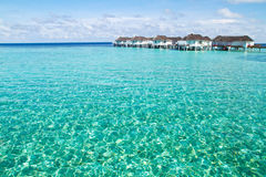 Über Wasser-Bungalow Malediven Stockfoto