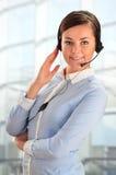 Über weißem Hintergrund im Studio Kundenbetreuung 3D wenig menschlicher Charakter in einem Kundenkontaktcenter Lizenzfreies Stockfoto
