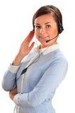 Über weißem Hintergrund im Studio Kundenbetreuung 3D wenig menschlicher Charakter in einem Kundenkontaktcenter Stockfotografie