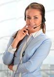 Über weißem Hintergrund im Studio Kundenbetreuung 3D wenig menschlicher Charakter in einem Kundenkontaktcenter Stockbild