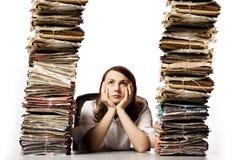 Überarbeitete Geschäftsfrau Stockfoto