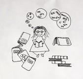 Überarbeitetes Studienmädchen Lizenzfreies Stockbild