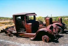 Überbleibsel verlassene LKWs Stockfoto