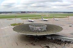 Überblick über alten Anschluss in internationalem Flughafen Sheremetyevo stockfoto