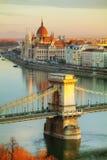 Überblick über Budapest bei Sonnenaufgang Lizenzfreie Stockbilder