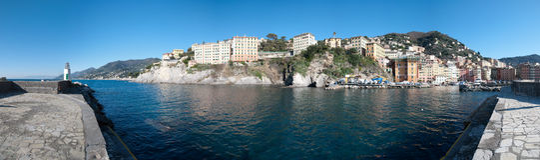 Überblick über Camogli Stockfoto