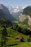 Überblick über das Tal bei Lauterbrunnen Stockfotos