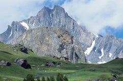 Überblick über Einbuchtung Parrachee ragt in Vanoise, Wirsing, Frankreich empor lizenzfreies stockbild